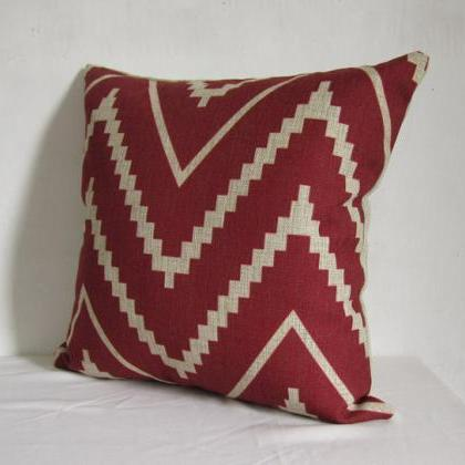 1 Piece of Red Zipzag Pillow Cushio..