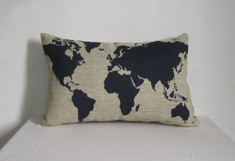 Throw Pillows With World Map : 1 Linen Pillow Cover Decorative Throw Pillow Cushion Cover Blue Map Cover World Map 30x50cm on ...