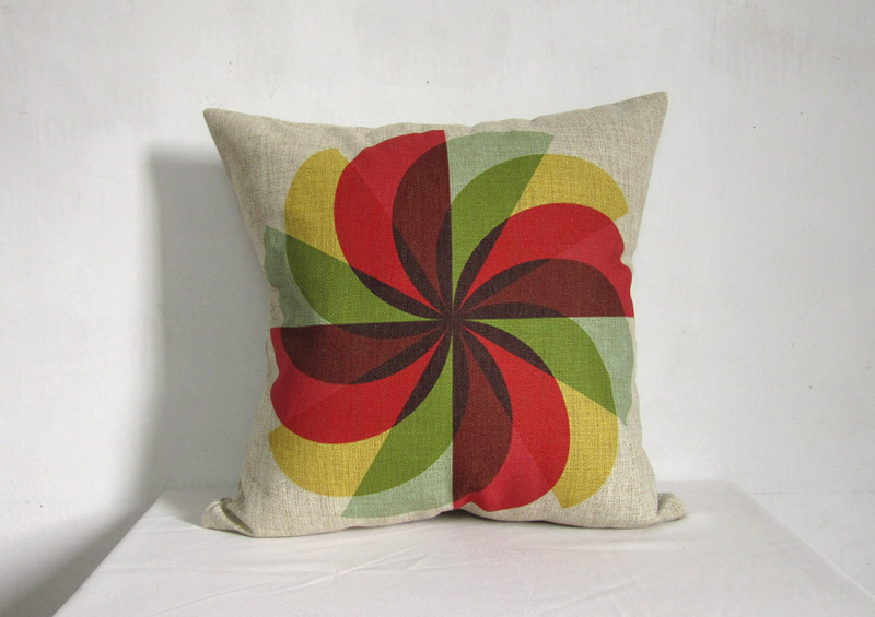 Decorative Linen Pillow Cushion Cover Geometry Colorful Housewares Home Decor 18""