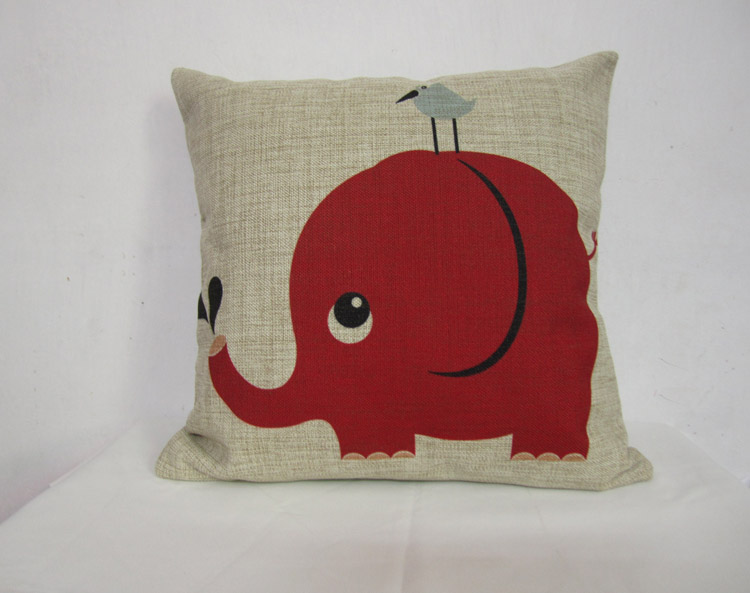 Linen Pillow Cover Decorative Pillow Cover Animal Cushion Cover Elephant Pillow Home Decor ...