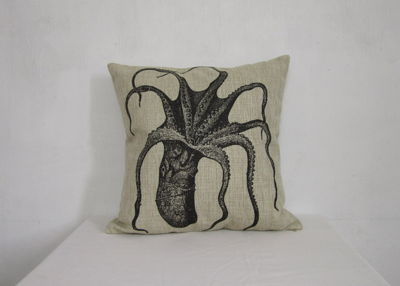 Linen Pillow Cover Decorative Pillow Cover Black Octopus Cushion Cover Home Decor Pillowcase 18 ...