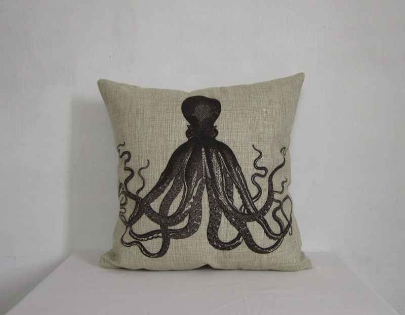 linen pillow cover decorative pillow cover black octopus cushion