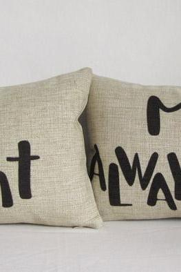 1 Pair of Mr.right Mrs.always right Wording Pillow Cushion Cover Linen Pillowcases Lumber Pillow Cover Car Pillowcase 30x50cm