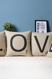 1 Set of Love Wording Pillow Cushion Cover Wedding Linen Pillowcases Pillow Cover Car Pillowcase 18 by 18 inches