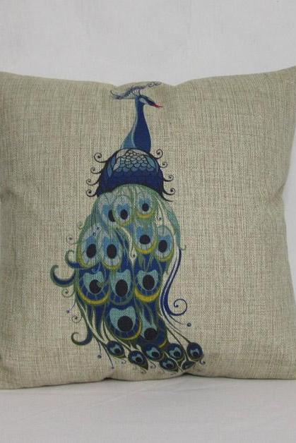 1 Linen Pillow Cushion Cover Peacock Decorative Pillowcase Housewares Car Pillowcase 18 by 18 inches