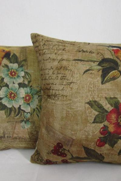 1 Pair Of Flower Bird Linen Pillow Cushion Cover Decorative Pillowcase Home Decor Housewares 18 by 18 inches