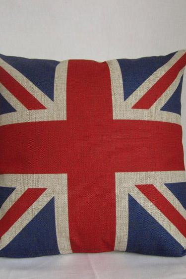 Linen cotton Pillowcase Union Jack England flag design throw pillow cushion cover/home decor/housewares 18 by 18 inches