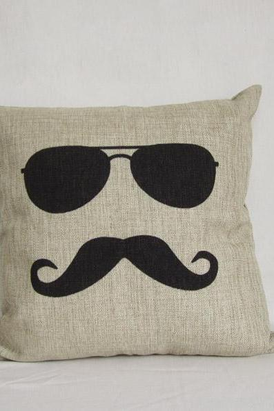 1 Linen pillow cover decorative pillow cover sunglass mustache 45x45cm