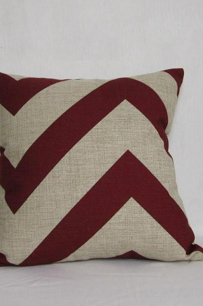 1 red stripe pillow cover linen pillowcase zigzag pillowcase home decor car pillowcase