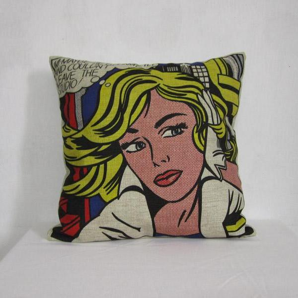 Roy Lichtenstein Pop Art Painting Linen Pillow decorative Cushion Cover 18""