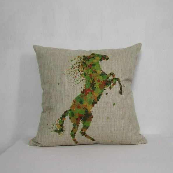 1 Horse Coloful Cotton Linen Pillow Cushion Cover 45x45cm