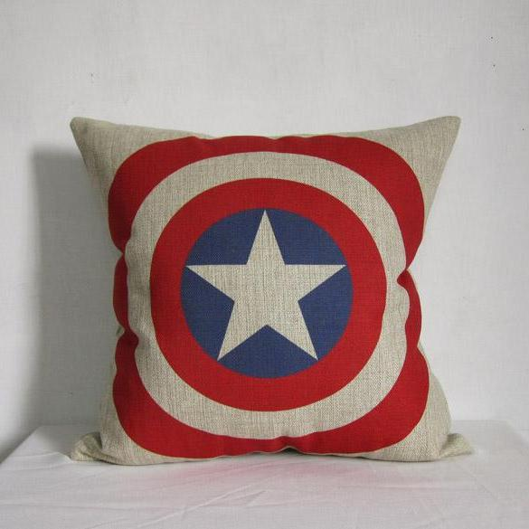 "1 Piece of Decorative Linen Pillow Cushion Cover Captain American Movie Star 18""x18"""