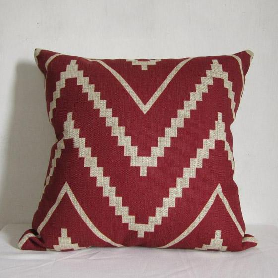 1 Piece of Red Zipzag Pillow Cushion Cover Decorative Linen Pillowcase 18 by 18 inches