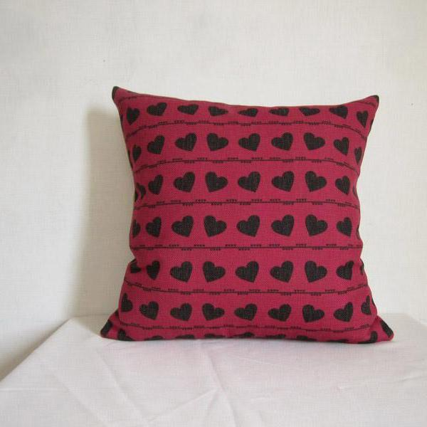 Decorative Linen Pillow Cushion Cover Red Heart Pillowcase Housewares 18 by 18 inches