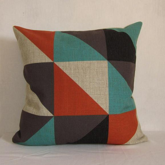 1 Piece of Splice Geometry Decorative Linen Pillow Cushion Cover Triangle Blue Red Black 18""